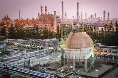 Gas storage sphere tank petrochemical plant at dawn Royalty Free Stock Photography