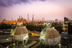 Gas storage sphere tank  petrochemical plant at dawn Royalty Free Stock Photos