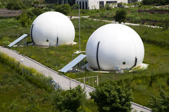 Gas storage spheres. Industrial storage facility royalty free stock photography