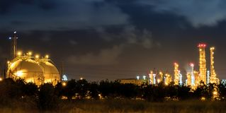 Gas storage spheres and oil refinery plant.  Royalty Free Stock Photo