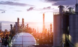Gas Storage Spheres Tank In Oil Refinery Plant Stock Photography