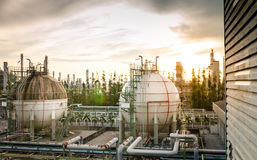 Gas storage spheres tank in petrochemical Royalty Free Stock Images