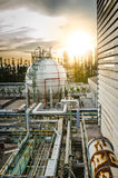 Gas storage spheres tank in petrochemical plant Royalty Free Stock Images