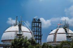 Gas storage spheres tank. In refineryl plant on sky background Stock Image