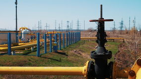 Gas storage and supply station. Pipelines for gas transportation. Shut-off valves. Oil and gas industry. stock video