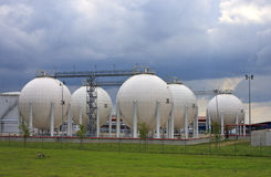 Gas storage tanks stock photos