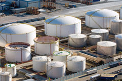 Gas storage tanks Stock Photo