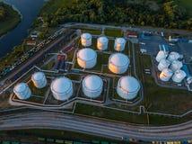 Gas storage terminal in the sea port. Baltic sea, Daugava river. royalty free stock photography