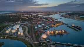 Gas storage terminal in the sea port. Baltic sea, Daugava river. Aerial, Riga, Latvija stock photo