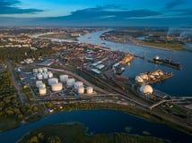 Gas storage terminal in the sea port. Baltic sea, Daugava river. Aerial, Riga, Latvija stock image