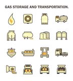 Gas storage icon. Gas storage and transportation icon sets Royalty Free Stock Images