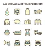 Gas transportation icon. Gas storage and transportation icon sets Stock Photos