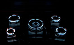 Gas stove. Blue flames of gas stove Stock Images