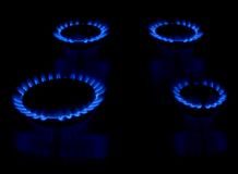 Gas stove as a blue fire Stock Images
