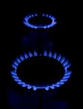Gas stove as a blue fire Royalty Free Stock Photos