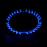 Gas stove as a blue fire Stock Photos