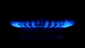Gas stove as a blue fire Stock Photography