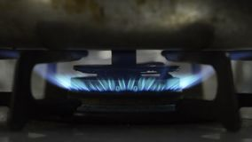 Gas stove blue flame stock footage