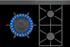 Gas Stove Blue Flames Royalty Free Stock Photo