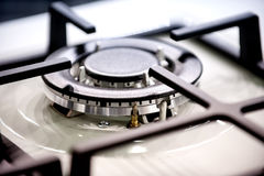 Gas stove burner with auto ignition Stock Photo