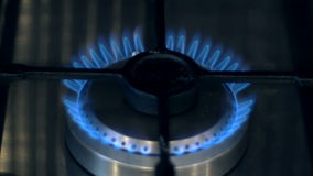 Gas Stove Burner. Ignition of the gas stove burner stock video