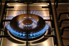 Gas stove burning Royalty Free Stock Photo