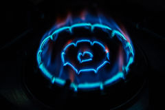 Gas stove Fire. In the home Stock Photos