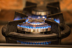 Gas stove. Fired two burners Stock Image
