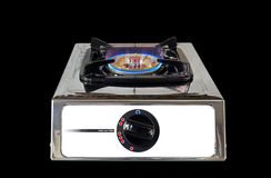 Gas Stove with Flame on Black Background. Gas Stove with Flame Isolated on Black Background Royalty Free Stock Photography