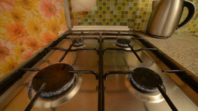 Gas stove in home. stock footage