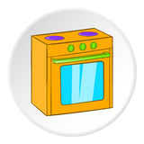 Gas stove icon, cartoon style Stock Image