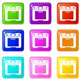 Gas stove icons 9 set Stock Photography