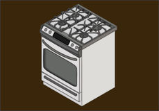 Gas stove isometric flat vector Royalty Free Stock Images