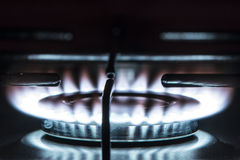Gas Stove. Natural gas hob in black Stock Image