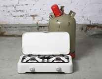 Gas stove and propane bottle Royalty Free Stock Image