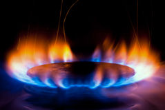 Gas stove V4. A flame burning on a gas stove in the kitchen Royalty Free Stock Photography