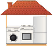 Gas stove, washing machine and refrigerator Royalty Free Stock Images
