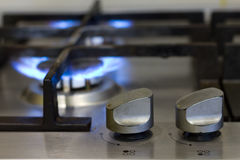 Gas Stove With Flame Stock Image