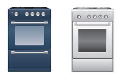 Gas stoves. Two household gas stoves, dark blue and silver Royalty Free Stock Photos