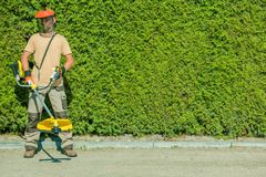 Gas String Trimmers Work Stock Photos
