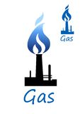 Gas symbol with pipe and blue flame Royalty Free Stock Images