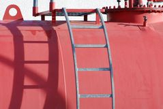 Gas tank. Close up of large red gas tank stock photography