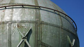 Gas Tank. Old ball shaped gas tank, out of use Stock Photo
