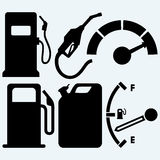 Gas tank, gas station and jerrycan Royalty Free Stock Photography