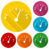 Gas tank illustration icons set with long shadow. Icon Royalty Free Stock Photos