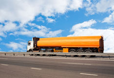 Gas-tank truck goes on highway Royalty Free Stock Images