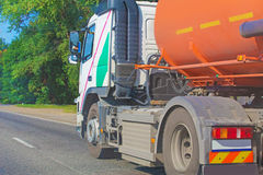 Gas-tank truck goes on highway Royalty Free Stock Photos