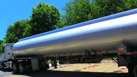 Fuel Tank Truck. Large Fuel Tank Truck delivering Gasoline to Gas Station Royalty Free Stock Photo