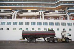 Gas-tank truck staying in Qaboos Port. Stock Photo
