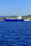 Gas tanker. Liquefied natural gas tanker LNG in the gulf of la spezia Stock Photo
